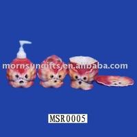 Wholesale Ceramic Pink Animal Bathroom Fitting Set