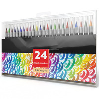 Customized 24 colors branding Soft tip Watercolor Brush Marker pen for art sketch