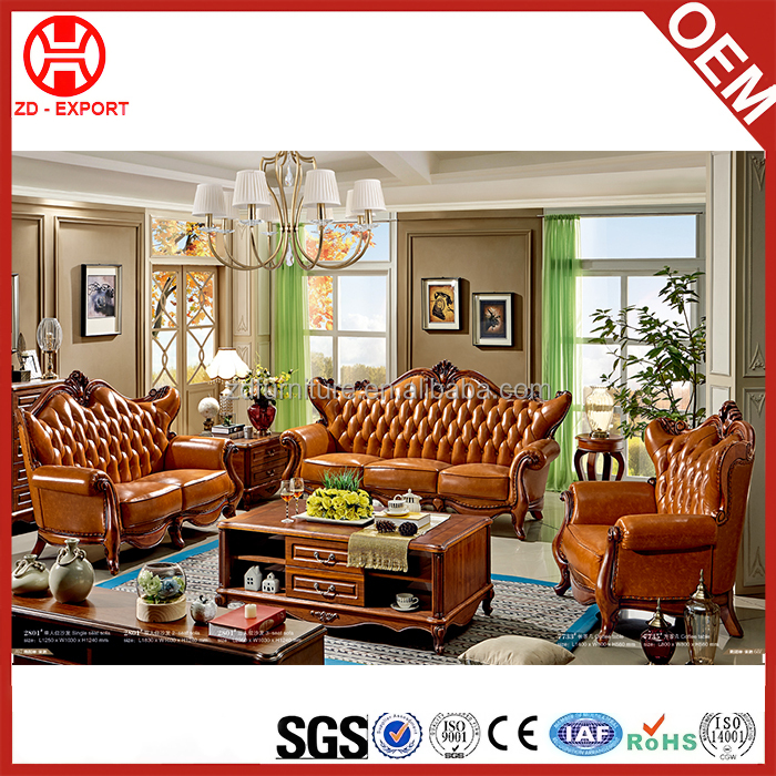 Environmental european style oak home furniture living room sectional sofa set