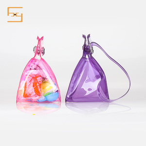 Wholesale Customized Size Clear Plastic Zipper Bag Button Bag With Handles