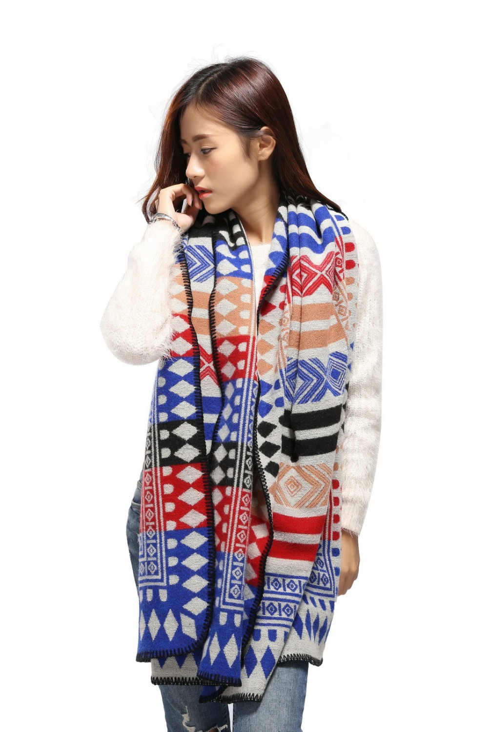 high quality adult Acryilc ladies scarves 2015 winter Geometric Poncho blanket fashion wither designer scarf shawl women #125