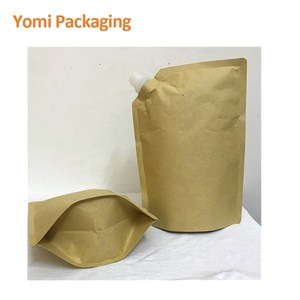 biodegradable custom printed foil stand waterproof liquid kraft paper bags spout pouch