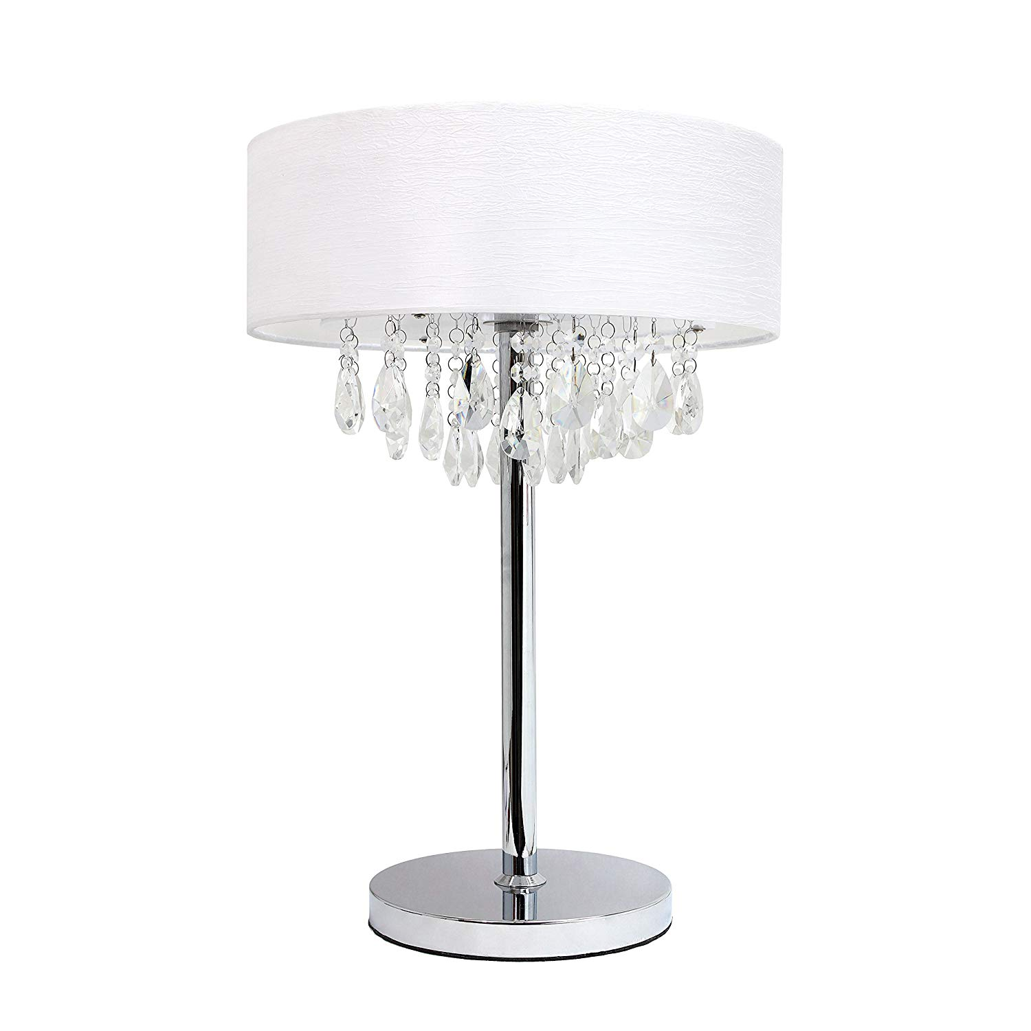Elegant Designs LT1023-WHT Romazzino Crystal and Chrome Table Lamp with Ruched Fabric Drum Shade, White