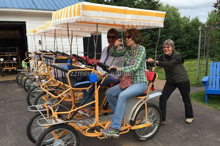 Rental Use Family Fun 4 Wheel 2 Person Surrey Quadricycle Bike For