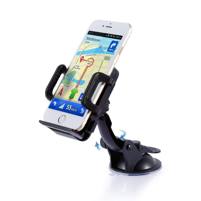 Car Phone Mount Holder, LESHP Car Mount 360°Degree Rotation Car Windshield Dashboard Suction Mount Holder Universal Car Mobile Phone cradle