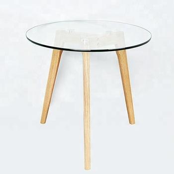 Simple Elegant Moderne En Verre Avec Table Basse Ronde En Bois De