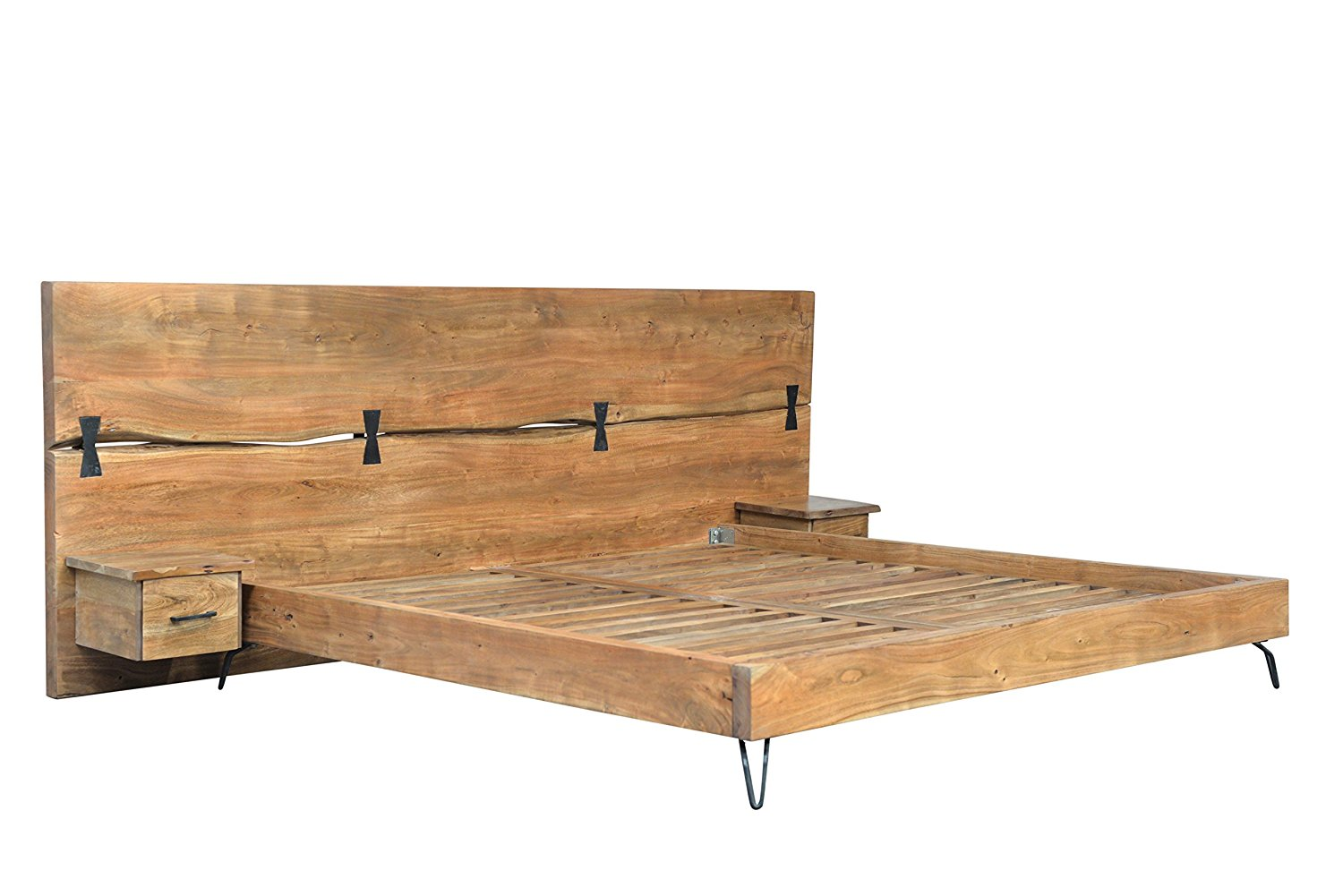 Buy Cdi Furniture Driftwood Collection Traditional Rustic Acacia Wood Bed With Raw Iron Metal Legs 2 Drawers Queen In Cheap Price On Alibaba Com