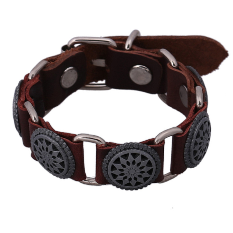 sh018-5 Vintage Personality Round Leather Bracelets Fashion Sunflower Alloy Brown Learther Punk Bracelets For Women&Men