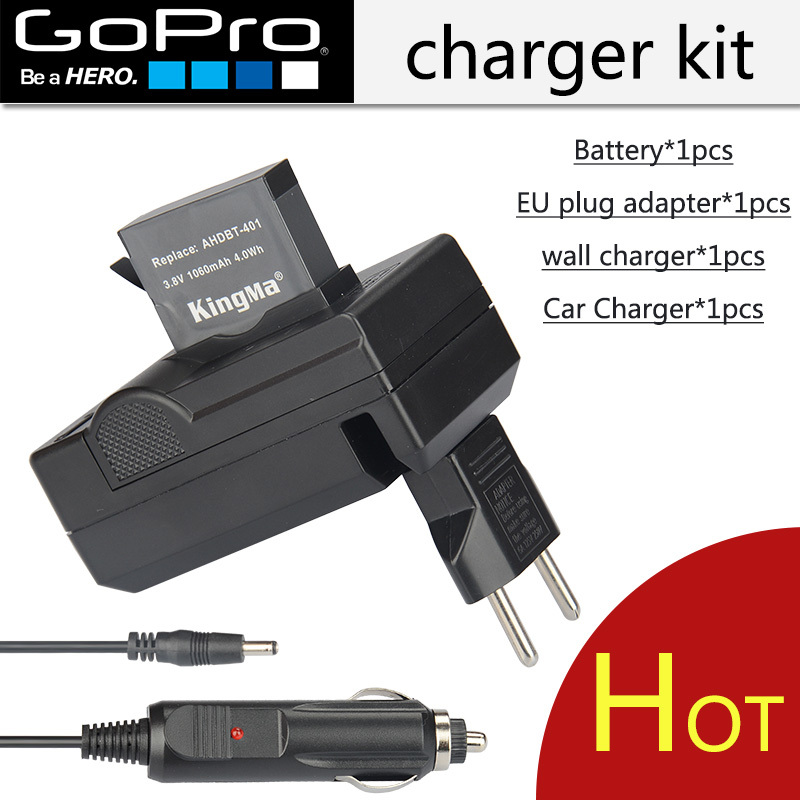 New Go Pro 4 Battery 1pcs 1200mAh AHDBT-401 Gopro Car Charger Battery Charger