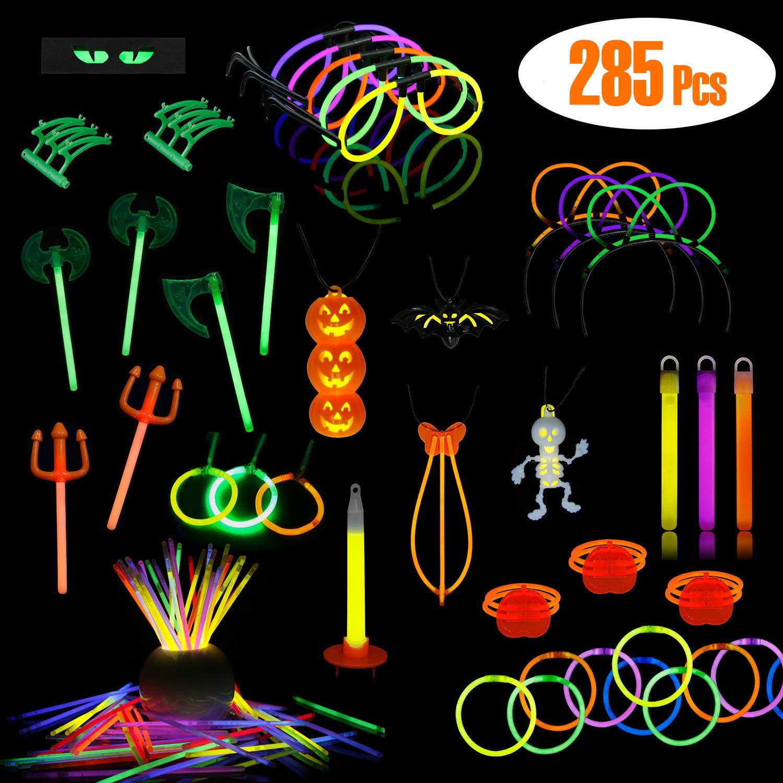 LaRibbons Halloween Glow-in Dark Party Supplies, 285 Pack Glow Sticks in Bulk, Halloween Themed Designer ( Pumpkin, Skeleton ) Bracelets, Necklace, Glasses, Magic Wands and More