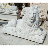 Outdoor Antique Marble Sculpture Hunan white marble lion statue