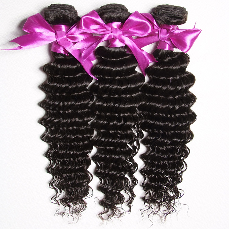 9a grade deep wave virgin hair overnight fast shipping no smell brazilian hair bundles, Natural 1b