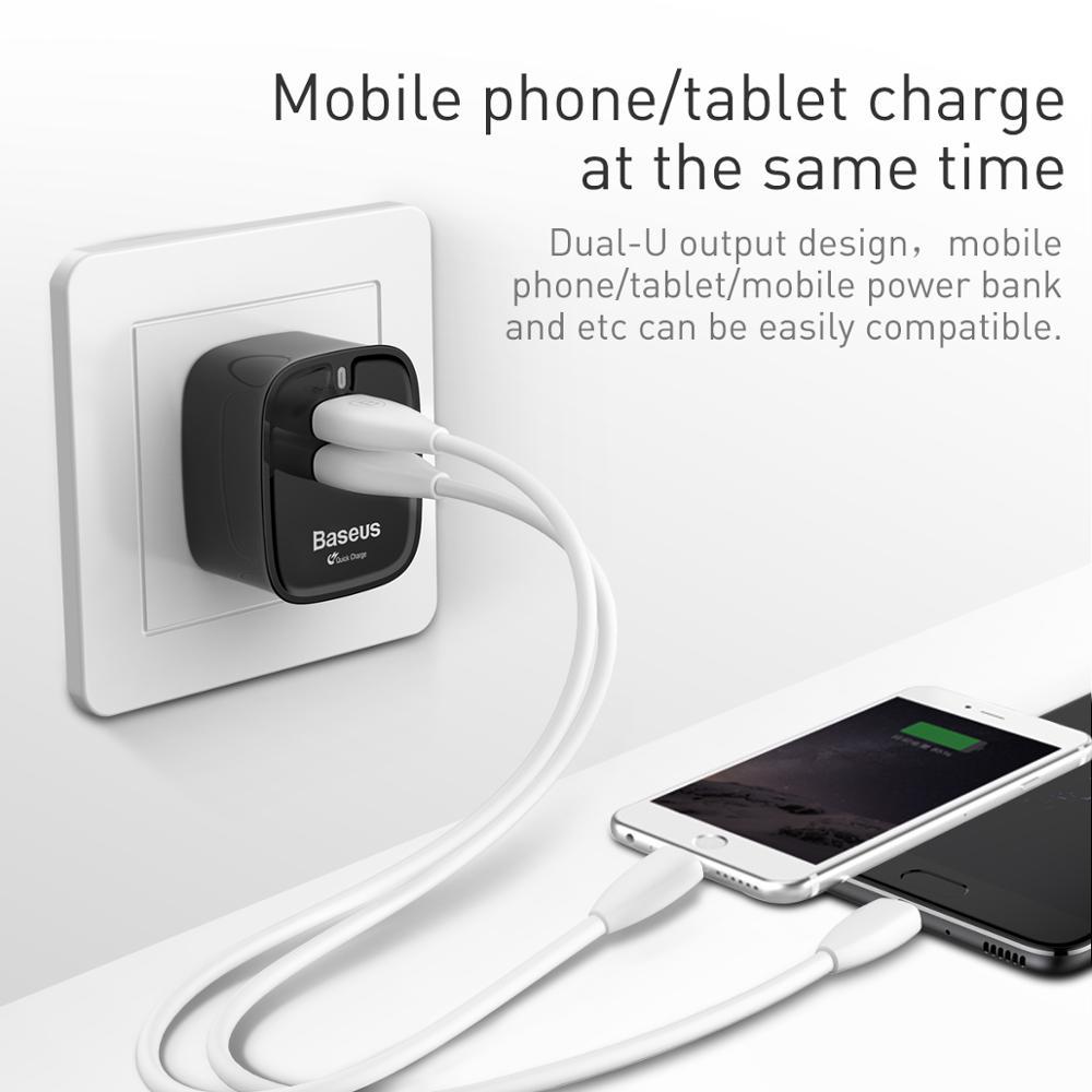 Baseus Funzi Dual USB UQC3.0 UK Travel Adapter Charger