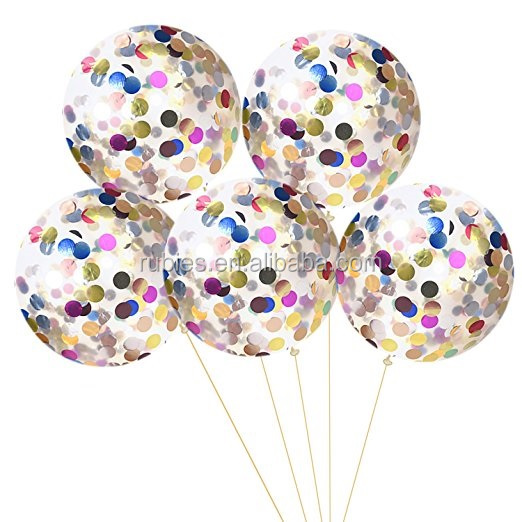 Gold Silver Sequin Confetti Round 12Inches 18inches 36inches Transparent Latex Free Happy Birthday Party Balloons