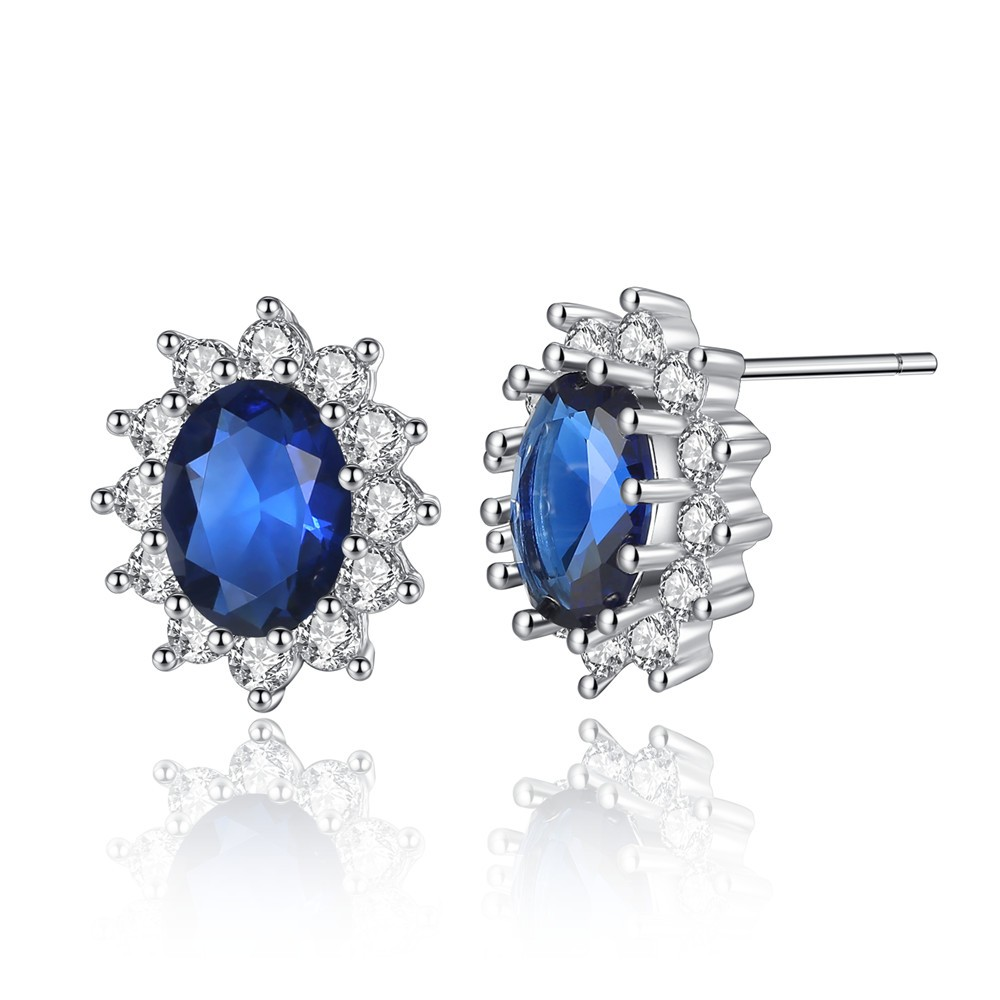 Engagement Wedding Earrings British Kate Princess Diana William Blue Sapphire Earrings Stud Gold Tone Jewelry Gift Drop Free