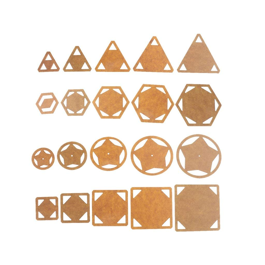 Jili Online 20 Pieces Assorted Shape Acrylic Quilting Templates Patchwork Template DIY Craft