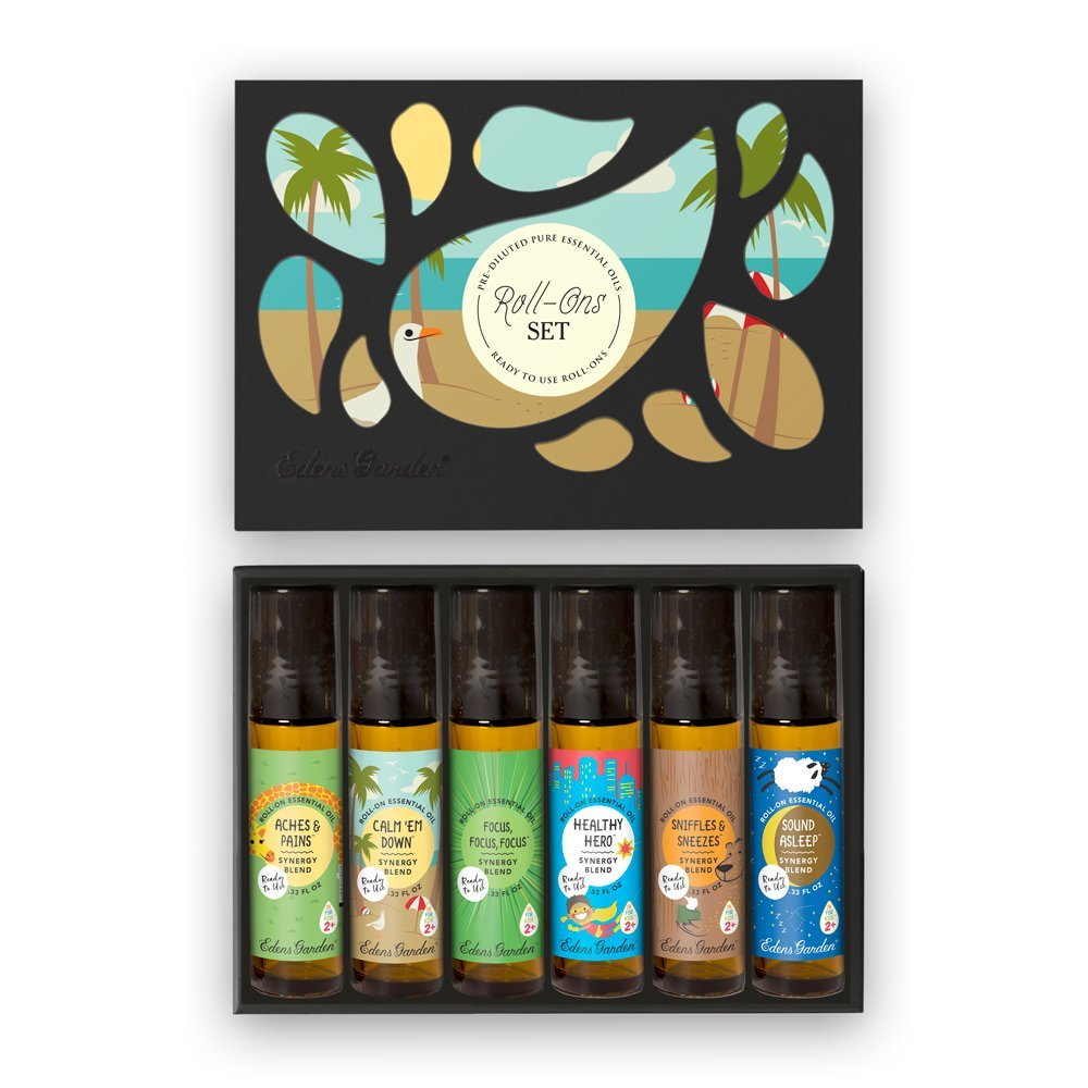 Essential Oil Roll-Ons OK For Kids 6 Set by Edens Garden 6/10 ml includes Aches & Pains, Bee Happy, Breathe In Breathe Out, Calm Em Down, Focus Focus Focus, and Germ Ease