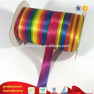 High quality wholesale printed rainbow bias tape polyester satin ribbons from Manufacturer