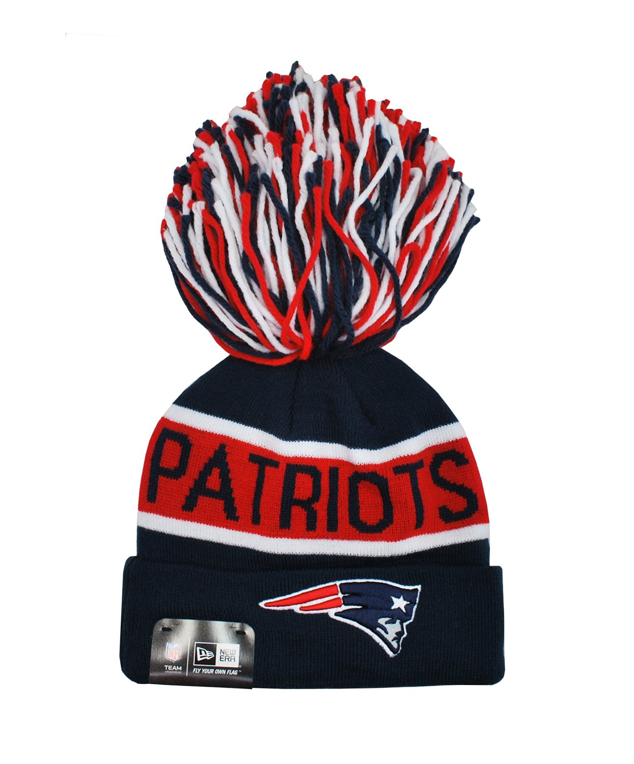 Get Quotations · NEW ERA NFL Beanie New England Patriots the Enthusiast  Multi-color Big Pom 1c169491f54a