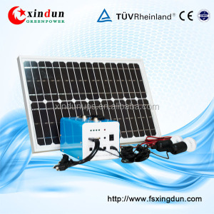 10w 20w 30w solar mini lighting system with mobile charger, portable DC solar kits for camping, outdoor solar power kits