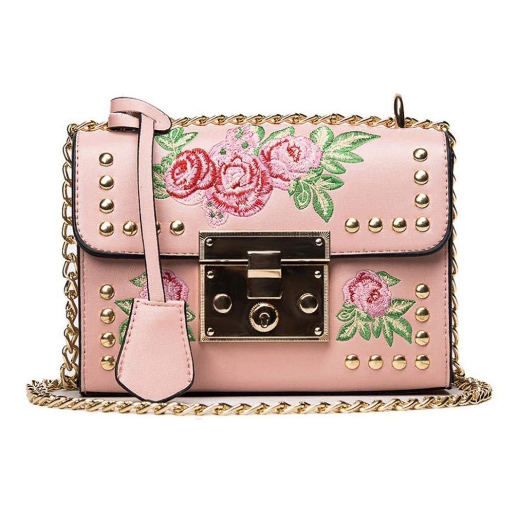 BCDshop Women Messenger Bags,Buckle Embroidery Rose Crossbody Shoulder Bags,Alloy Chain PU Leather Bags