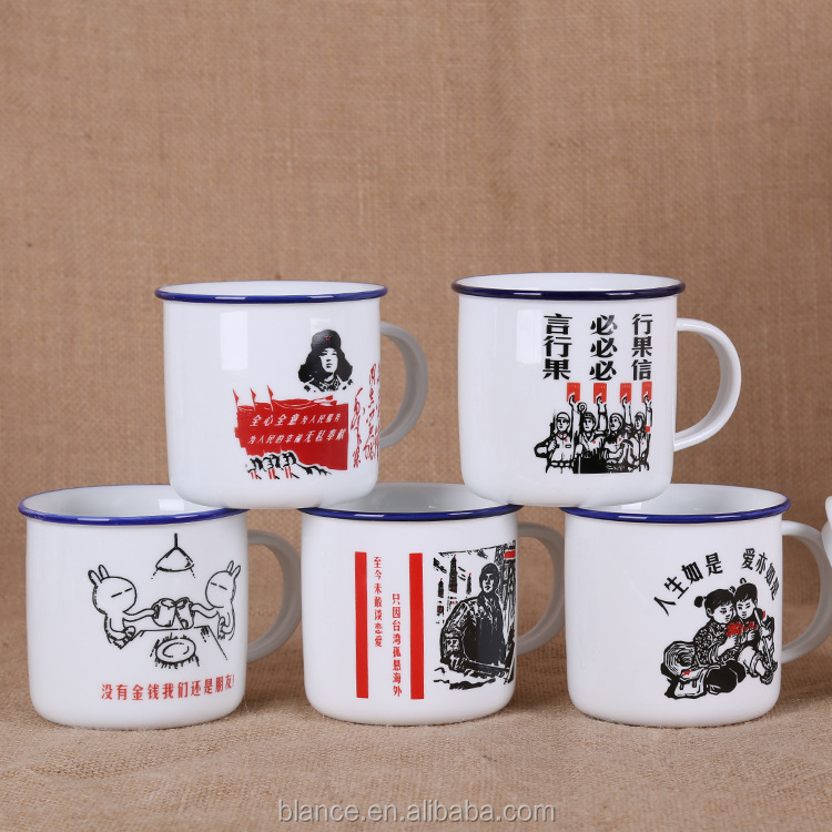 enamel porcelain cup has customize logo enamel mug