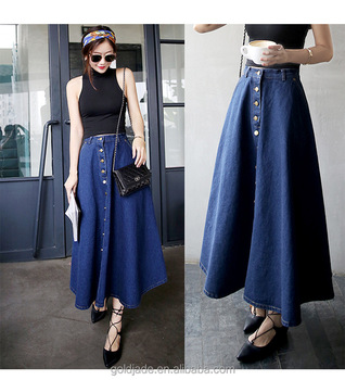 c9d755cb9f2f 2017 New Fashion Ladies Long Denim Skirts Long Jeans Skirts - Buy ...