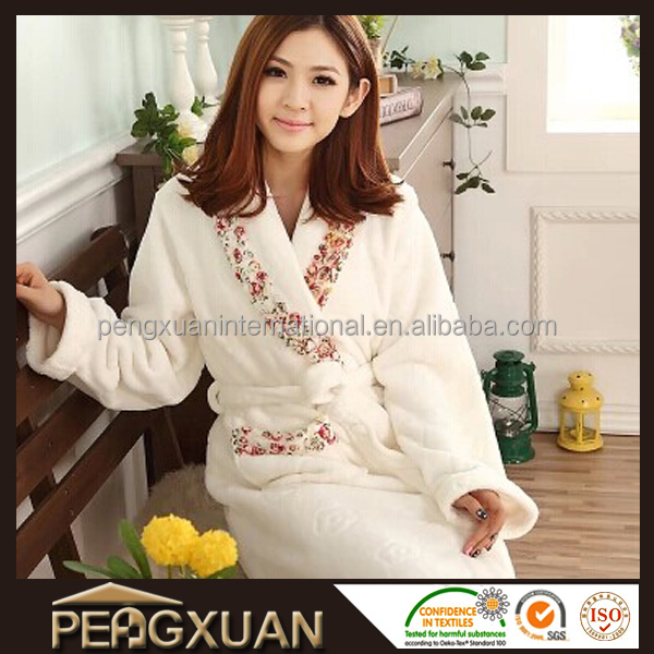 New arrival 5star hotel standard best quality terry women's floral robe