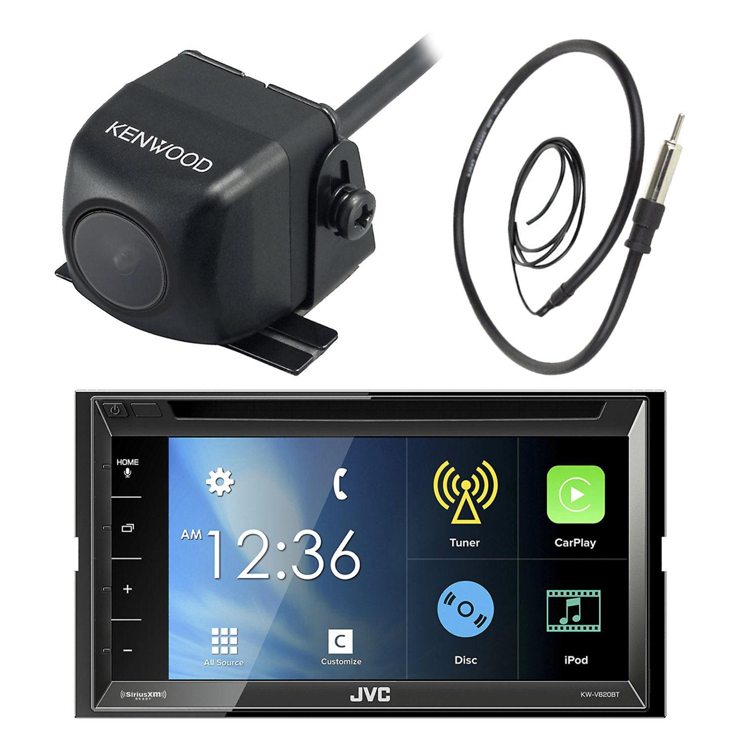 """JVC KW-V820BT 6.8"""" Inch Double DIN Touch Screen Car CD DVD USB Bluetooth Stereo Receiver Bundle Combo With Kenwood Rearview Wide Angle View Backup Camera, Enrock 22"""" AM/FM Radio Antenna"""