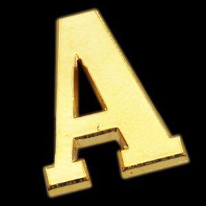 Letter A lapel pin,number and letter lapel pins,two sided badge holder
