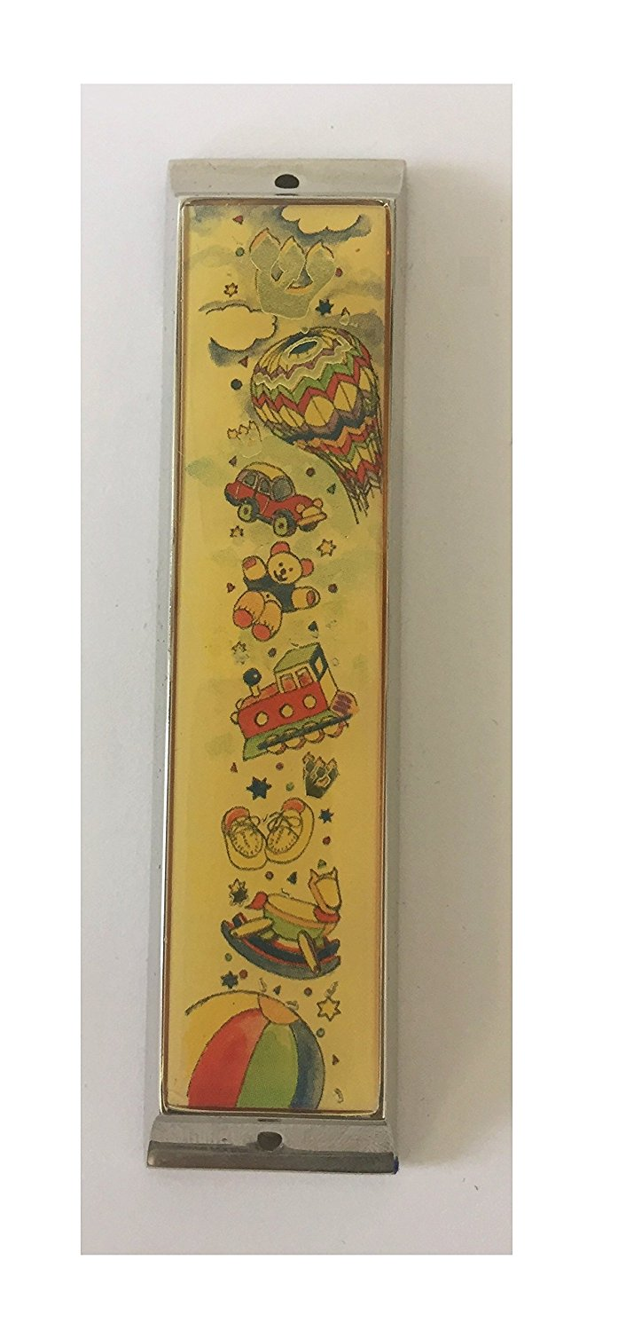 Silver Plated Baby Mezuzah Case with Hot Air Balloon Toys and Beach Ball Design