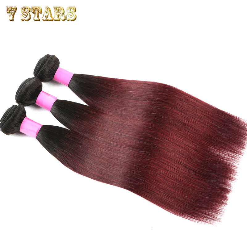 6A Brazilian Virgin Hair Straight Ombre Hair Extensions 3pcs T1b/99j 2 Tone Ombre Brazilian Human Hair Weaves 12-24inch