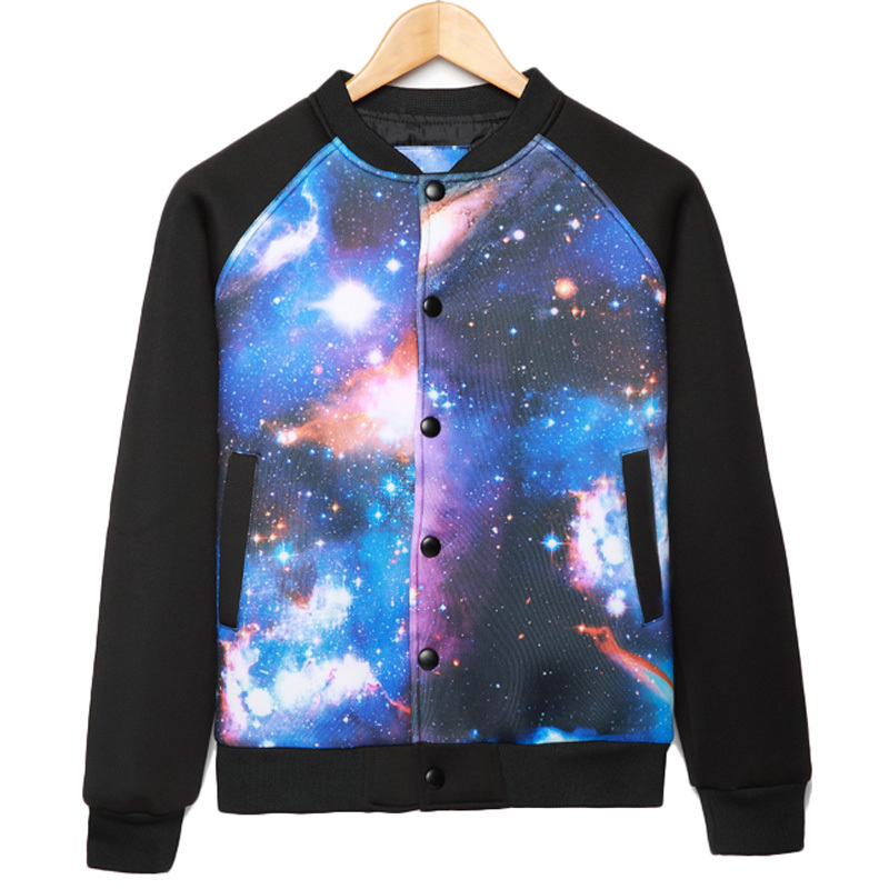 Brand Baseball Jacket Men 2015 Fashion Design galaxy Printed Mens Slim Fit Varsity Jacket Stylish Jacket For Fall Veste Homme