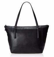 Fashion PU leather ladies black tote bags