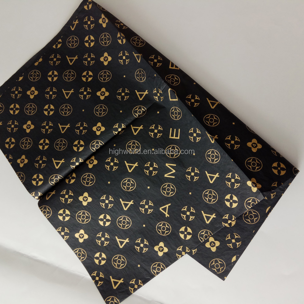 New style gold logo black color gift wrapping tissue paper