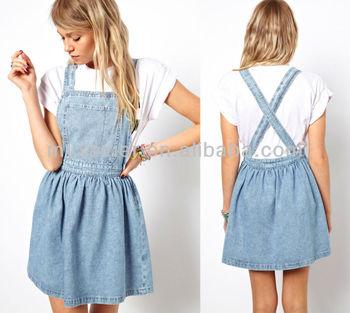 93f85791313 Cross Back Denim Pinafore Dress In Light Vintage Wash