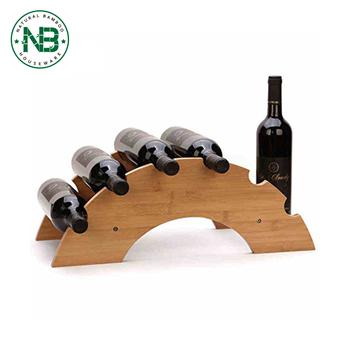 Novelty Arch Bridge Shape Bamboo Wine Bottle Storage Rack