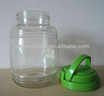 large glass jar with plastic lid and handle - Large Glass Jars