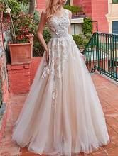 Классические свадебные платья цвета шампанского с аппликацией трапециевидной формы, длина до пола 2020, Vestido de Noiva, кружевные свадебные платья...(Китай)