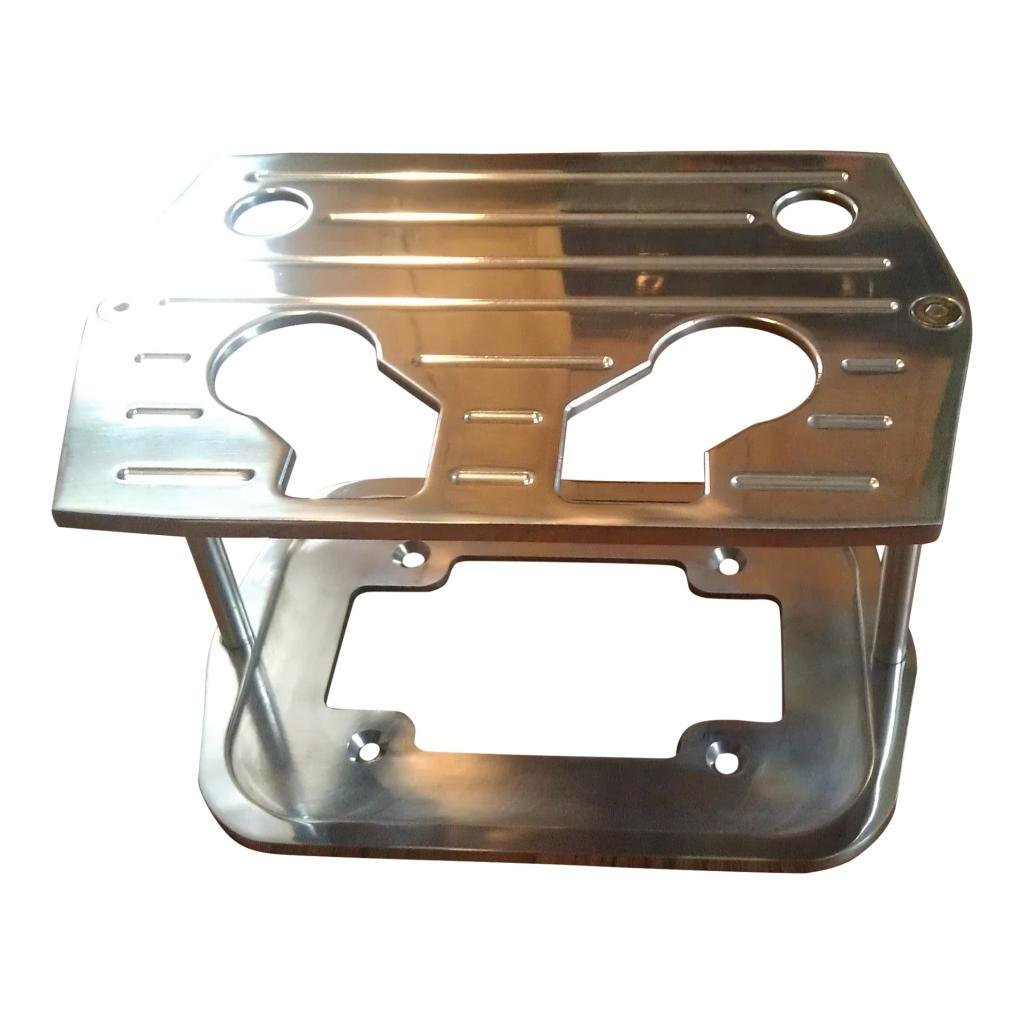 Billet Aluminum CHROME Optima Battery Tray Holder Box - Group 34/78 Series Red, Yellow, Blue Top - CHROME with Ball Milled Top - Custom Hot Rod Chevy Camaro Ford Mustang Mopar Dodge Charger Challenger
