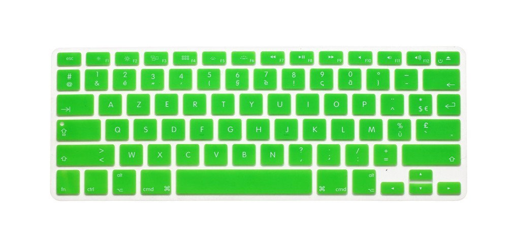"French / English Keyboard Cover, HQF® Notebook Silicone *French Belgian Keyboard Skin* Protection Laptop Layout for All Apple Macbook Air Pro 13"" 15"" *US Version*(Green)"
