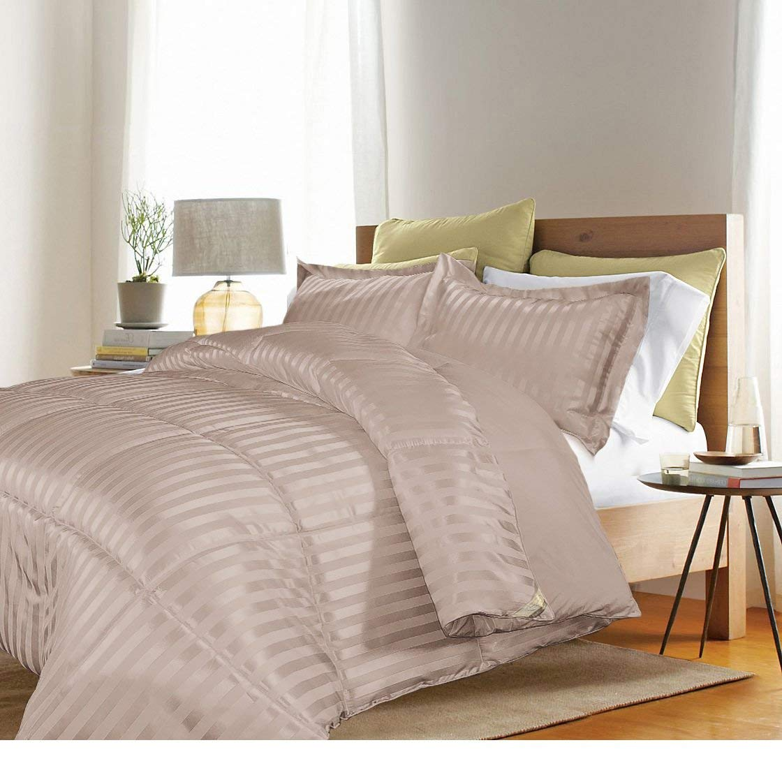 3 Piece Full Queen Taupe Brown Damask Stripe Comforter Set, Fancy Luxury Bedding, Classic & Traditional Style, Microfiber Polyester Material, Reversible, Machine Washable, Light Brown