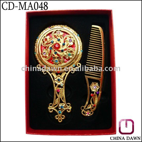 gift metal golden handle ladies cosmetic comb mirror set CD-MA048