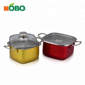 Newest NOBO Design Square Shape Portable Stainless Steel Mini Cooking Pot for Camping