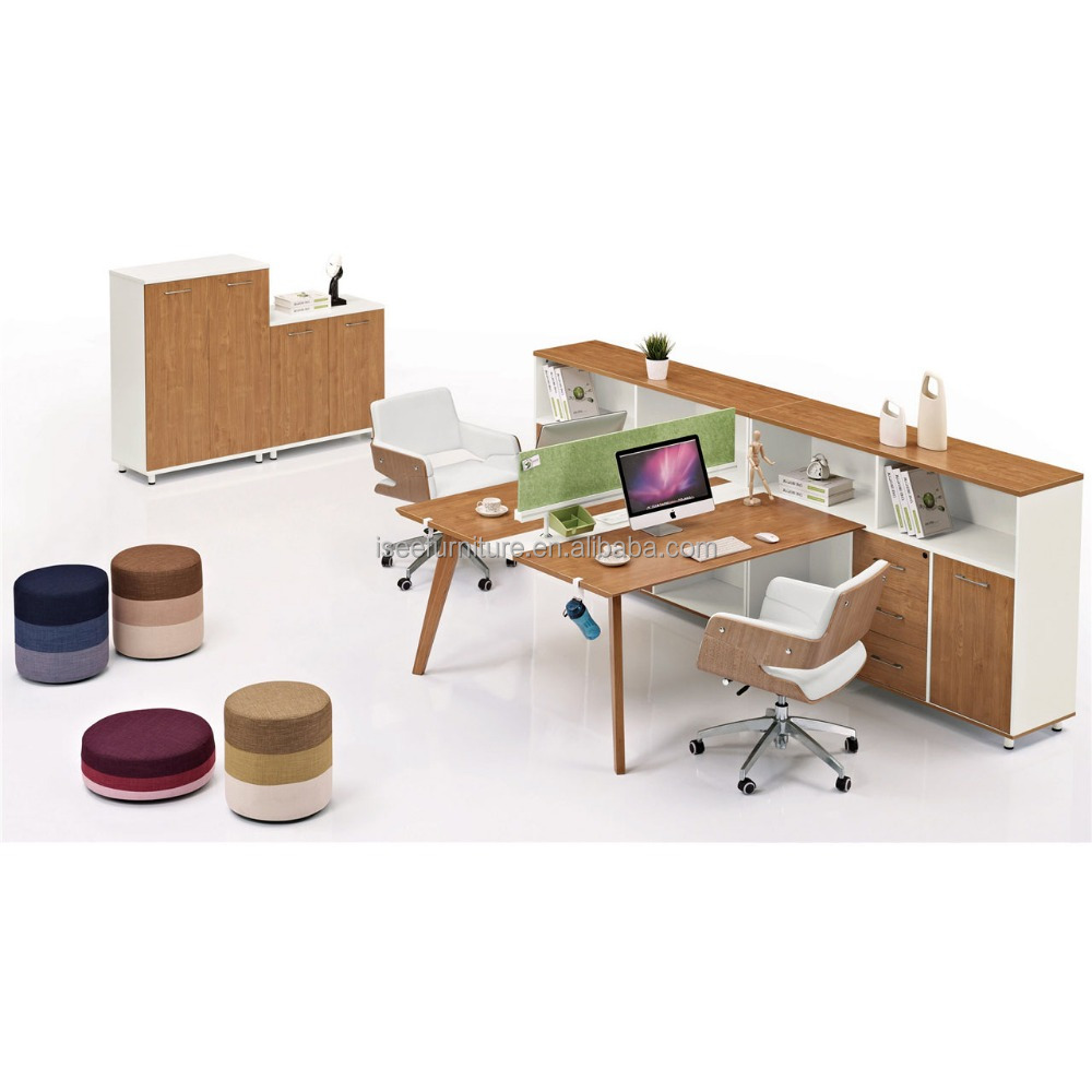 Administrative office furniture Malaysia counter workstation 2 seat office desk with shelf IC3029