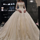 Ball Gown Off Shoulder Long Sleeve Lace Dress White Wedding Dresses Bridal Gowns Wedding Dress 2019
