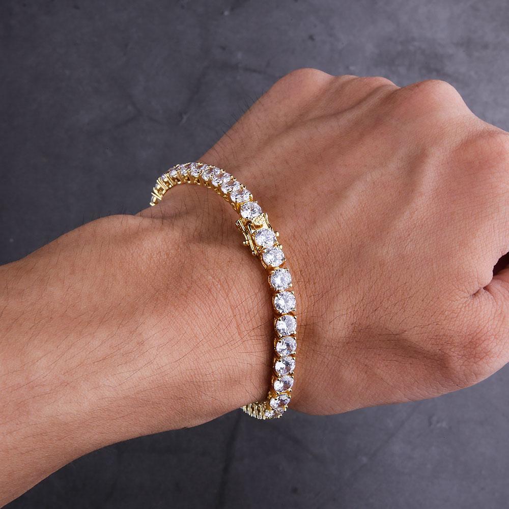KRKC&CO 5mm Diamond Tennis Bracelet cubic zirconia tennis bracelet Hip Hop Jewelry Wholesale for men, Gold color