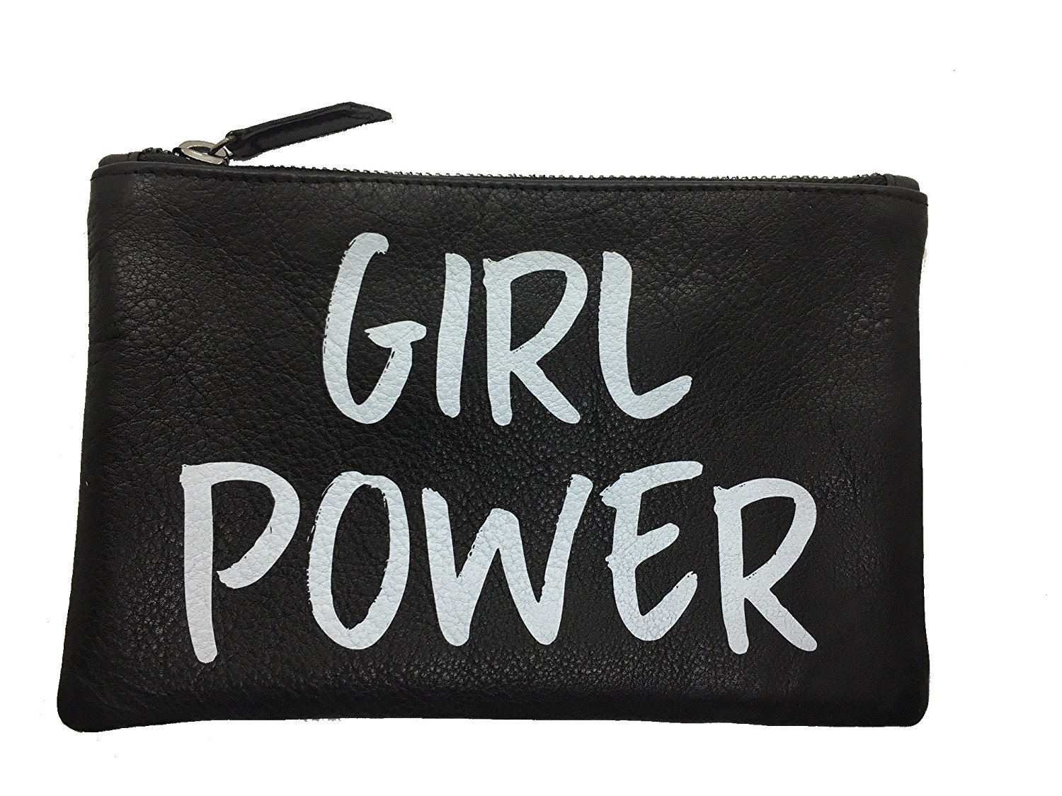 """GRIMALDI LEATHER Flat Printed Leather Clutch Black """"Girl Power"""" (5""""x8"""") LINED"""