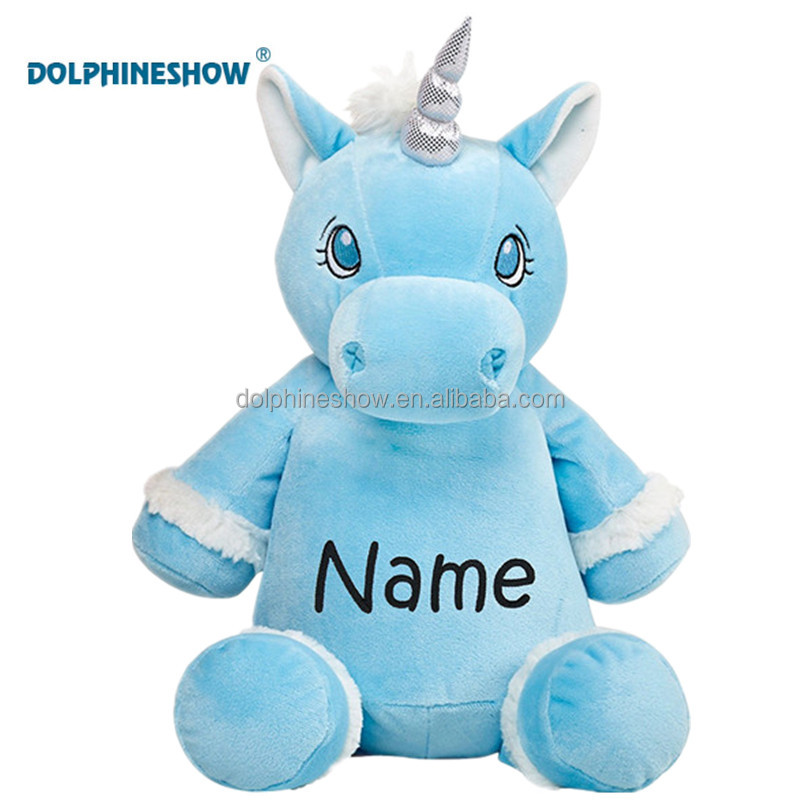 Stuffed Animal Blue Color Horse Unicorn Plush Toy With Embroider