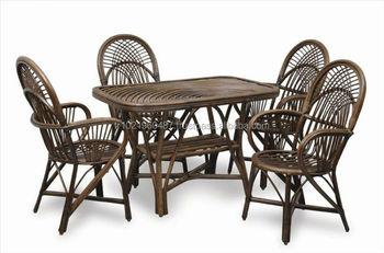 Sedie E Tavoli Da Giardino In Vimini.In Legno Naturale Bambu Rattan Set Da Pranzo Legno Sedia Tavolo